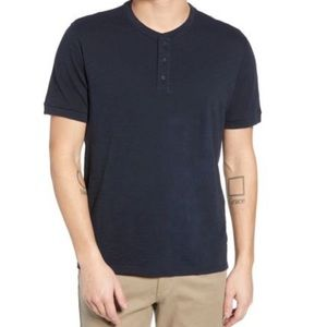 Vince Short Sleeve Henley Cotton Slub T-Shirt